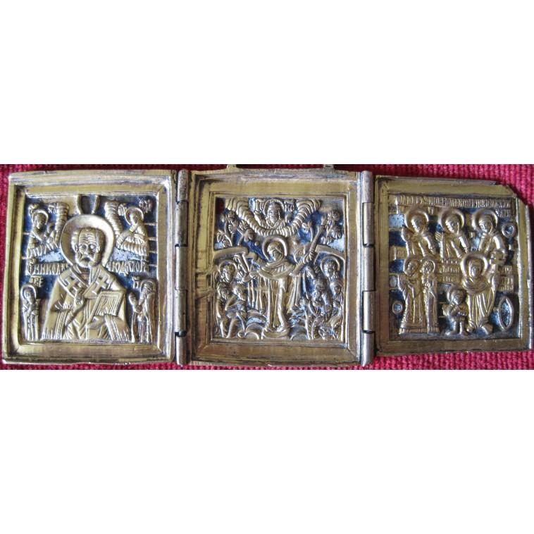 Bronze triptych